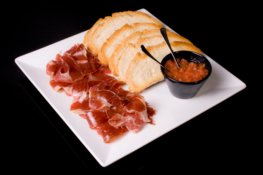 Joselito Iberian Cured Ham with tomato, virgin olive oil and oven baked ciabatta