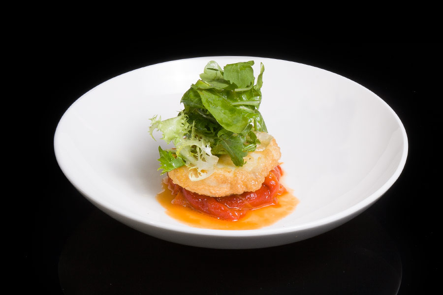 Battered hake with roasted peppers